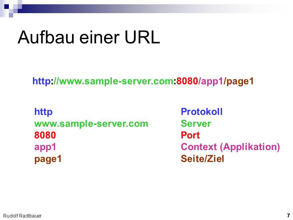Aufbau einer URL http://www.sample-server.com:8080/app1/page1