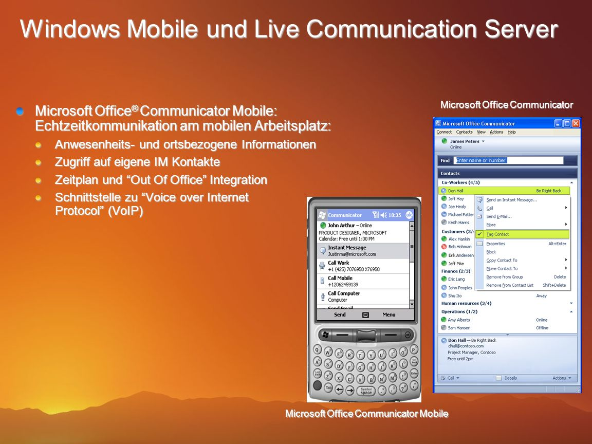 Windows Mobile und Live Communication Server