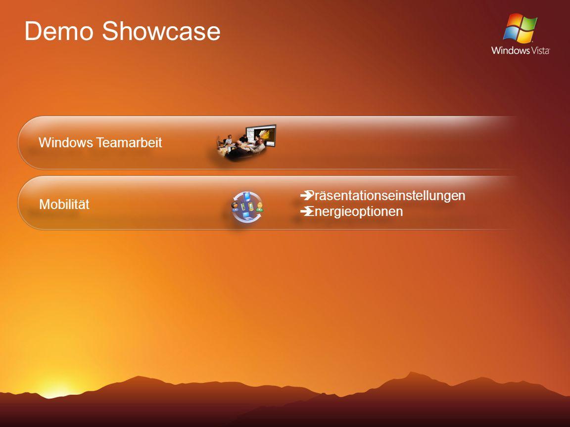 Demo Showcase Windows Teamarbeit Mobilität Präsentationseinstellungen