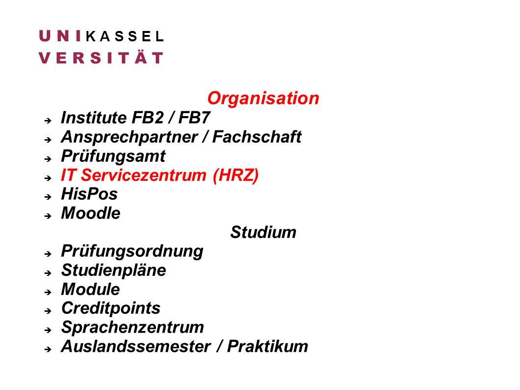 Organisation Institute FB2 / FB7 Ansprechpartner / Fachschaft
