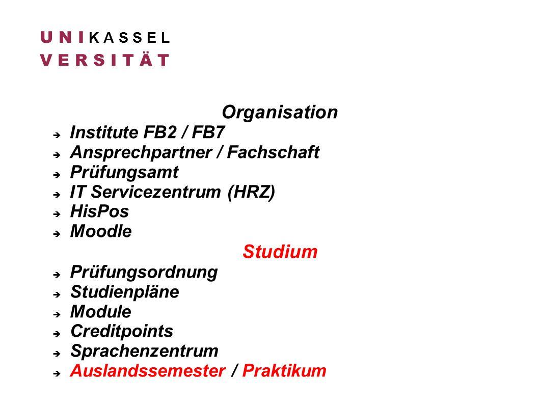 Organisation Studium Institute FB2 / FB7 Ansprechpartner / Fachschaft