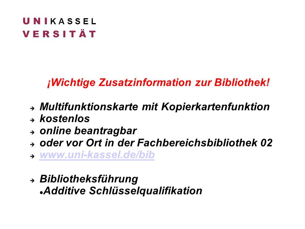 ¡Wichtige Zusatzinformation zur Bibliothek!