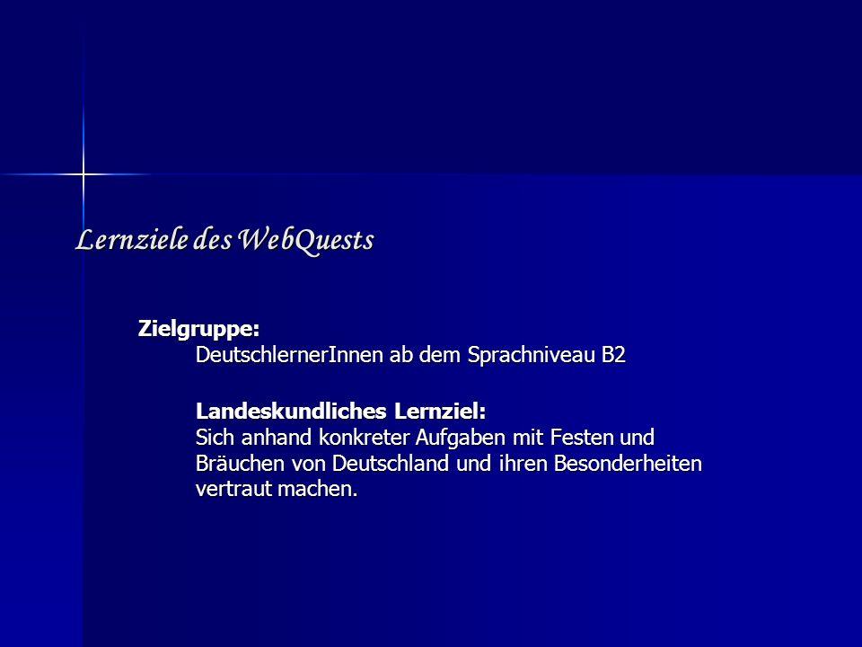 Lernziele des WebQuests
