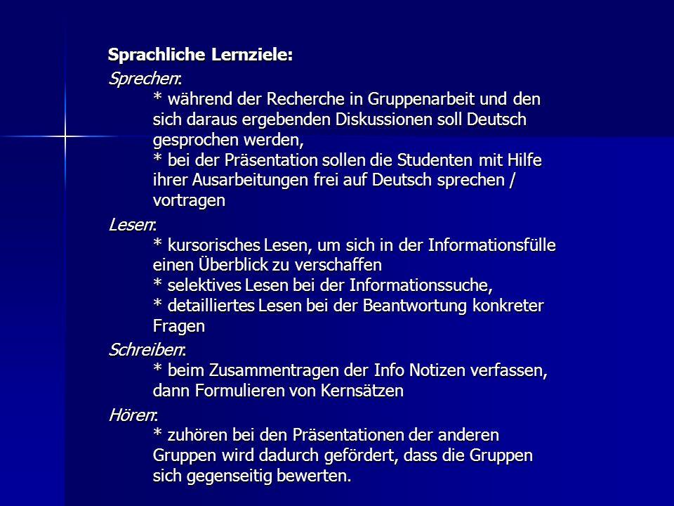Sprachliche Lernziele: