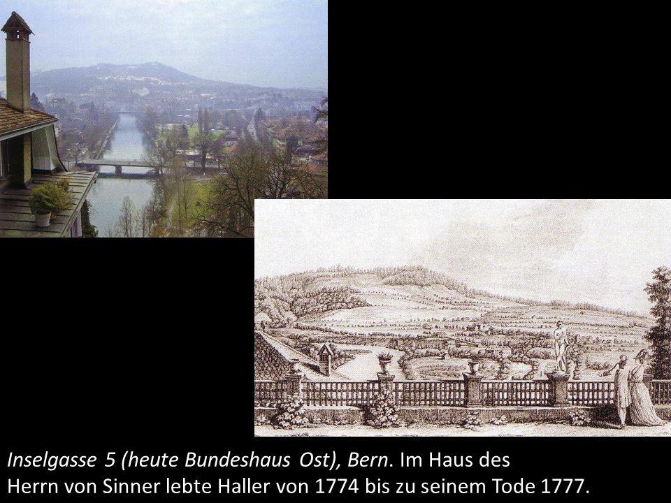 Am 12.12.1777 stirbt Albrecht von Haller an einer chronischen Blasen- und Harnwegserkrankung.