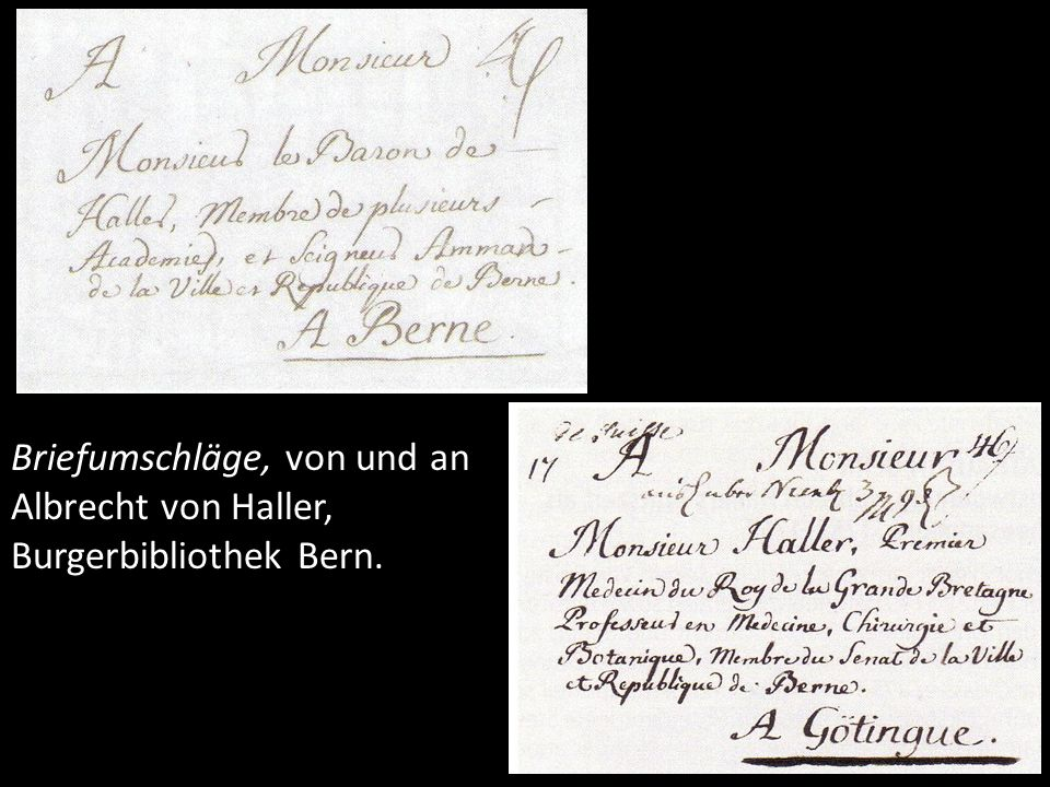 Briefumschläge, von und an Albrecht von Haller, Burgerbibliothek Bern.