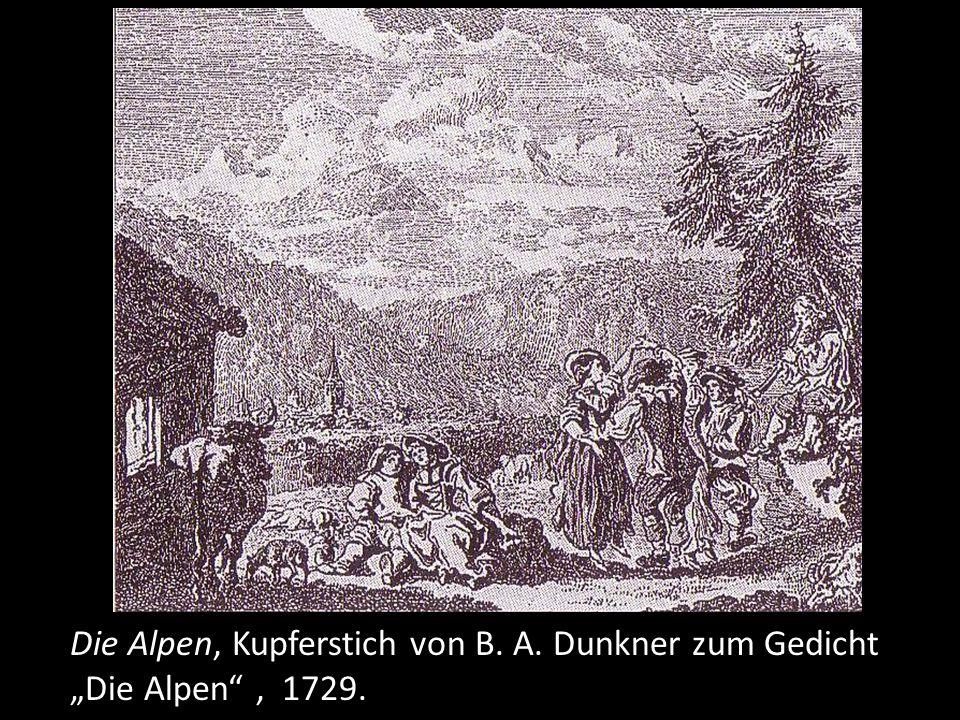 Die Alpen, Kupferstich von B. A. Dunkner zum Gedicht