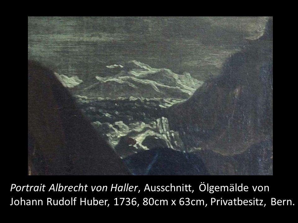 """Es ist eine direkte Anspielung auf sein 1732 publiziertes Gedicht """"die Alpen . Wir sehen hier die damals berühmteste Hochgebirgslandschaft der Schweiz, nämlich den unteren Grindelwaldgletscher mit den Fiescherhörnern. Ohne dass direkt darauf hingewiesen wird, gelten diese Berner Alpen als Inbegriff der von Haller idealisierten Alpen."""