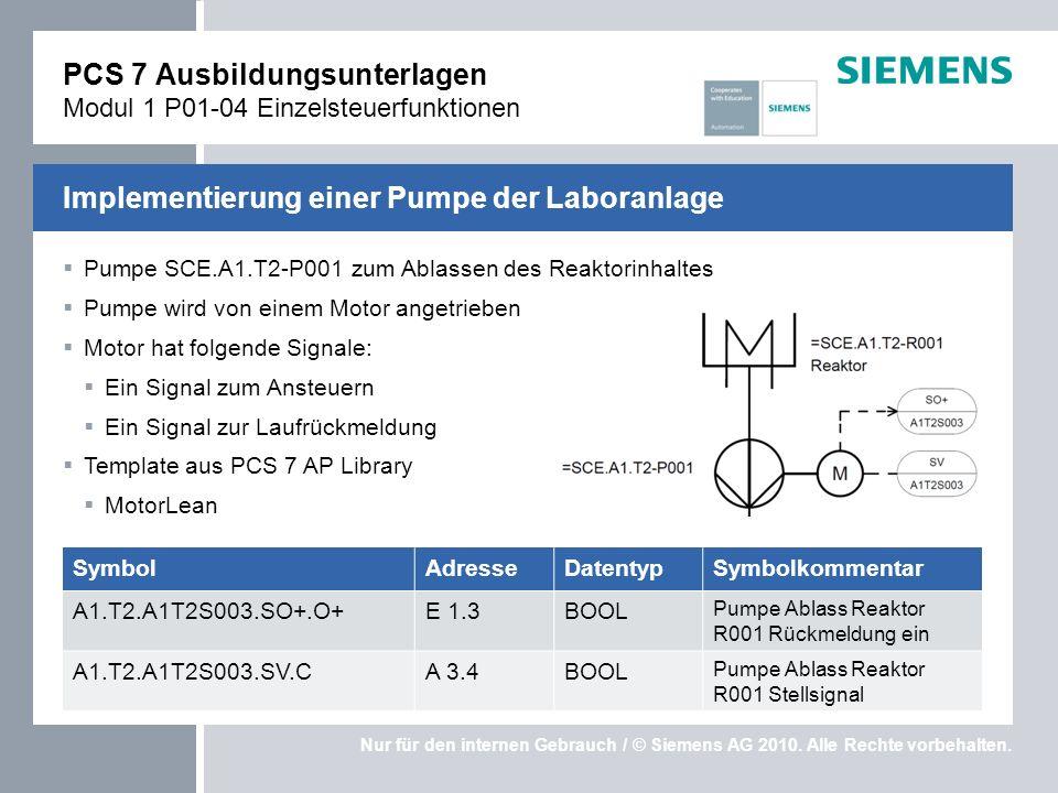 PCS 7 Ausbildungsunterlagen Modul 1 P01-04 Einzelsteuerfunktionen