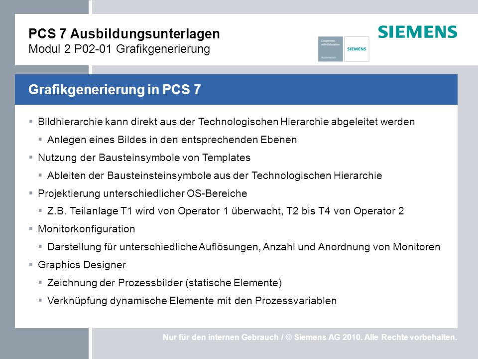 PCS 7 Ausbildungsunterlagen Modul 2 P02-01 Grafikgenerierung