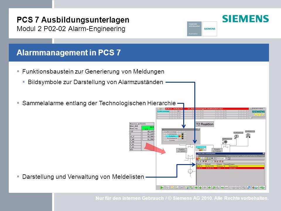 PCS 7 Ausbildungsunterlagen Modul 2 P02-02 Alarm-Engineering