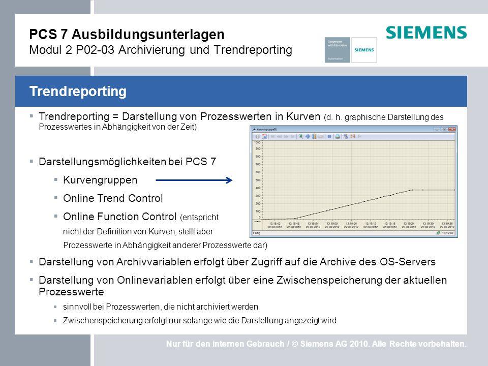 PCS 7 Ausbildungsunterlagen Modul 2 P02-03 Archivierung und Trendreporting