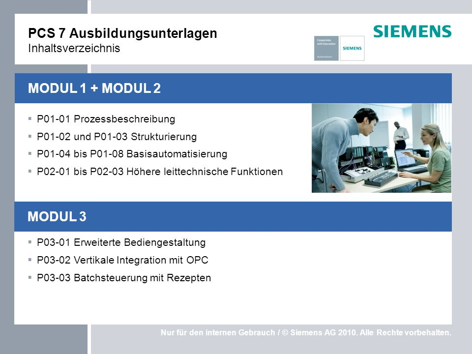 PCS 7 Ausbildungsunterlagen Inhaltsverzeichnis