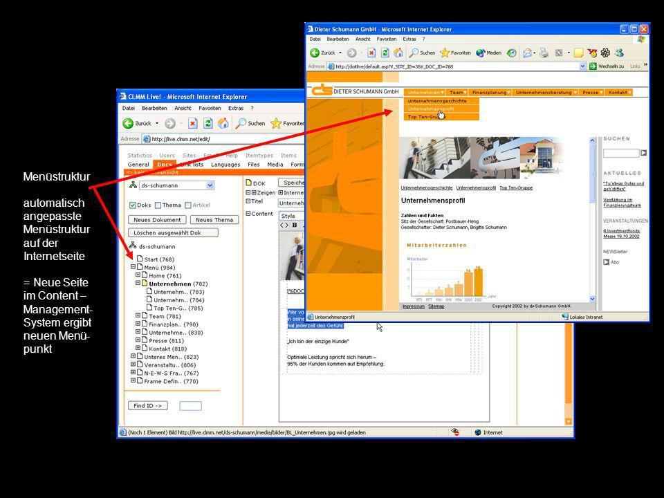 Menüstruktur automatisch angepasste Menüstruktur auf der Internetseite = Neue Seite im Content – Management- System ergibt neuen Menü- punkt