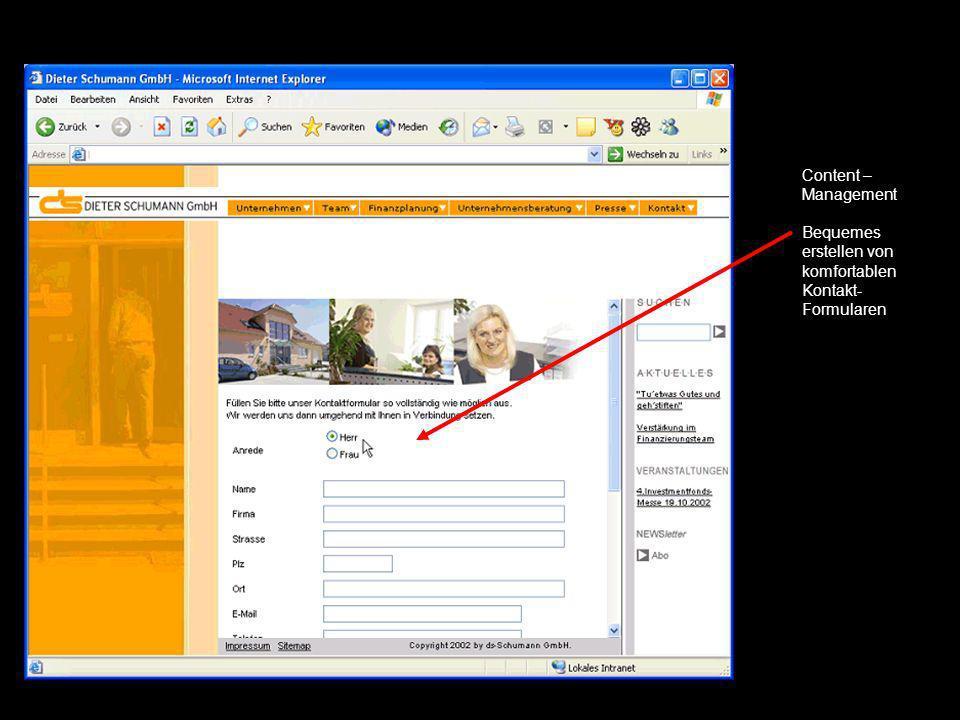 Content – Management Bequemes erstellen von komfortablen Kontakt- Formularen