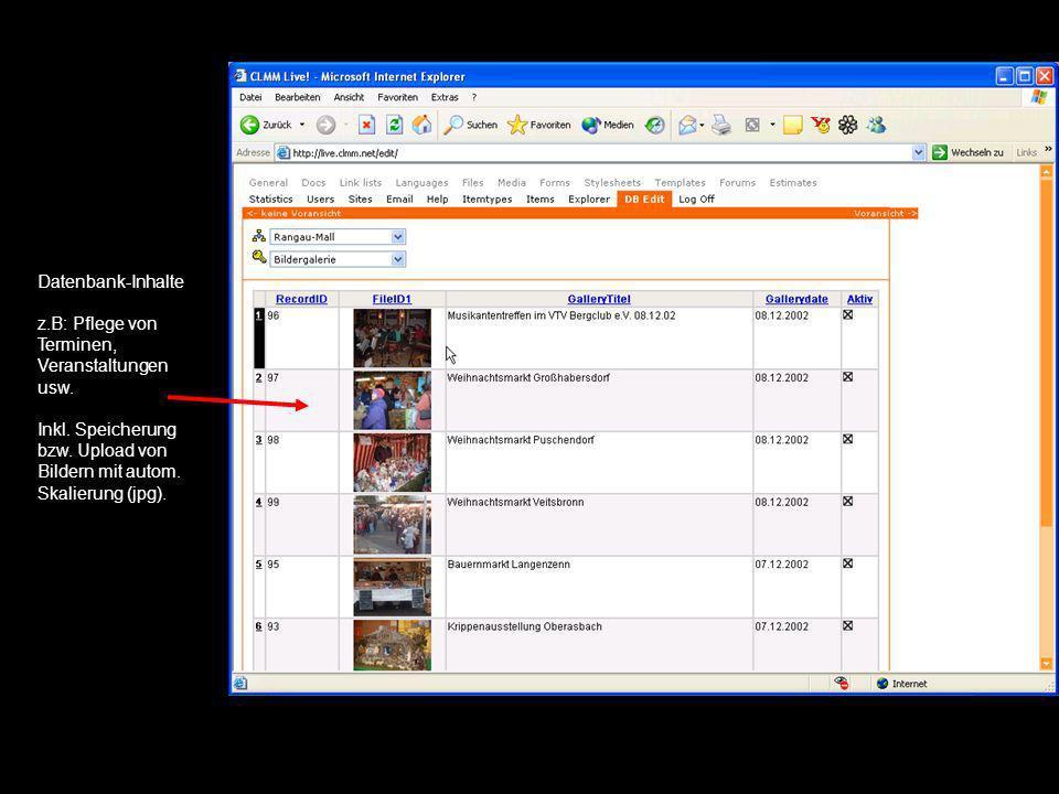 Datenbank-Inhalte z. B: Pflege von Terminen, Veranstaltungen usw. Inkl
