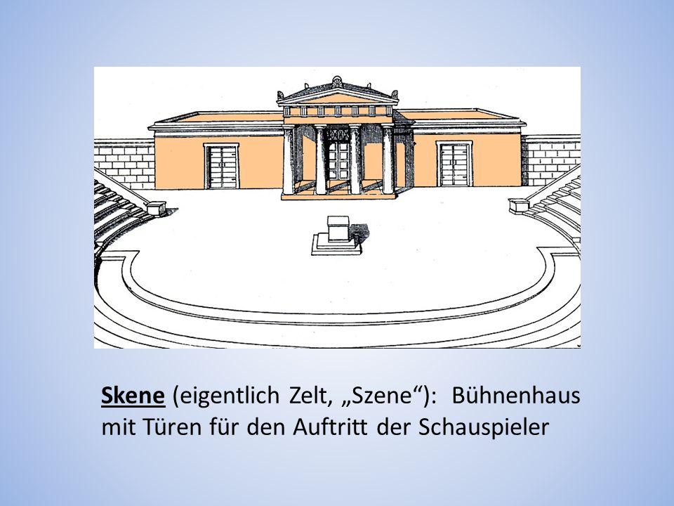 """Skene (eigentlich Zelt, """"Szene ): Bühnenhaus mit Türen für den Auftritt der Schauspieler"""