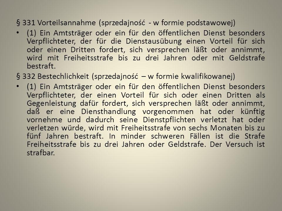§ 331 Vorteilsannahme (sprzedajność - w formie podstawowej)