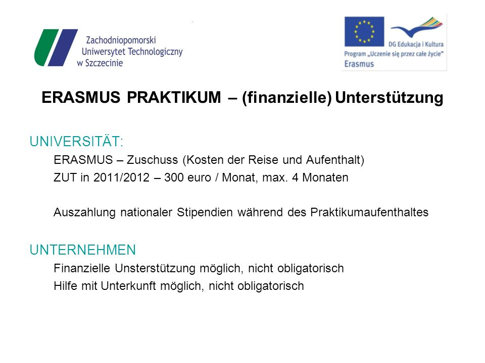 ERASMUS PRAKTIKUM – (finanzielle) Unterstützung