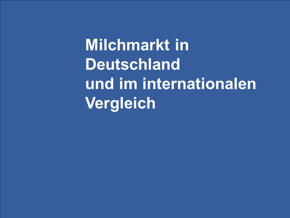 Milchmarkt in Deutschland und im internationalen Vergleich