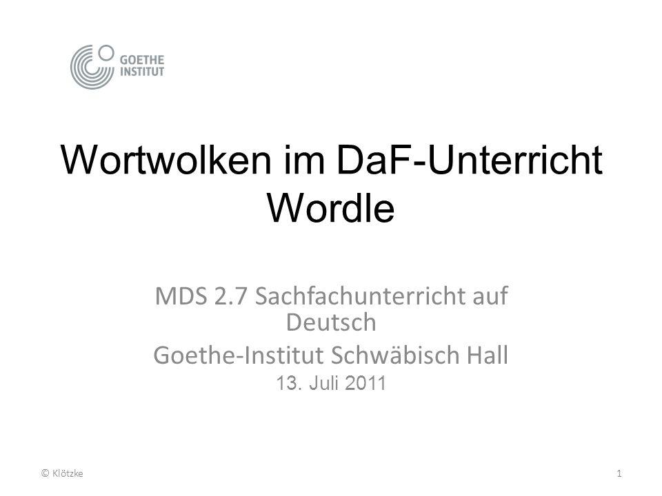 Wortwolken im DaF-Unterricht Wordle