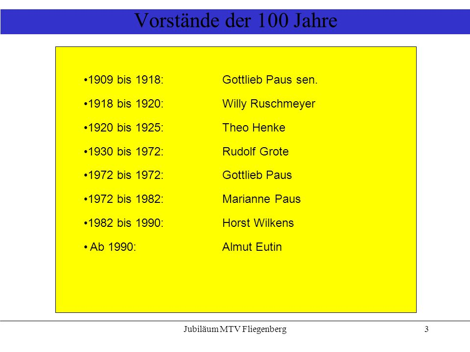 Jubiläum MTV Fliegenberg