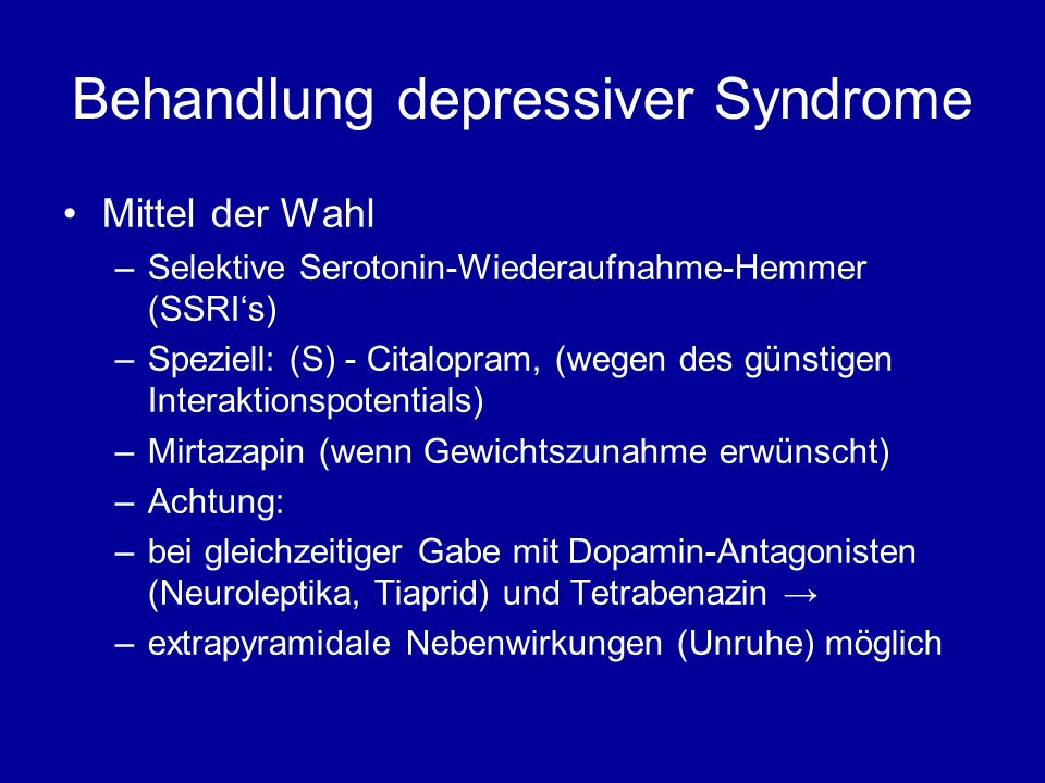 Behandlung depressiver Syndrome