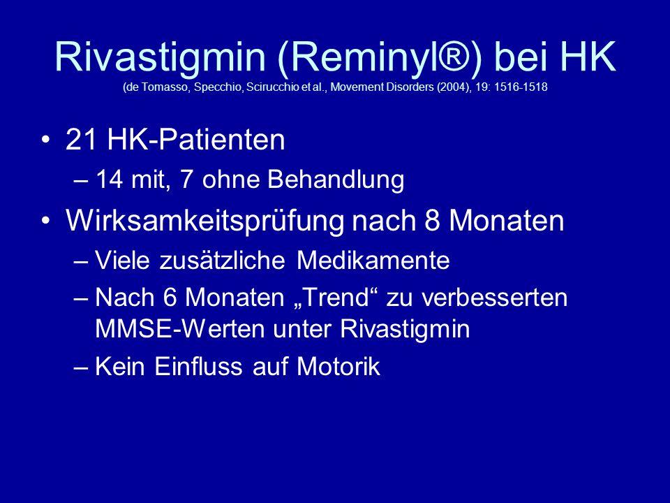 Rivastigmin (Reminyl®) bei HK (de Tomasso, Specchio, Scirucchio et al