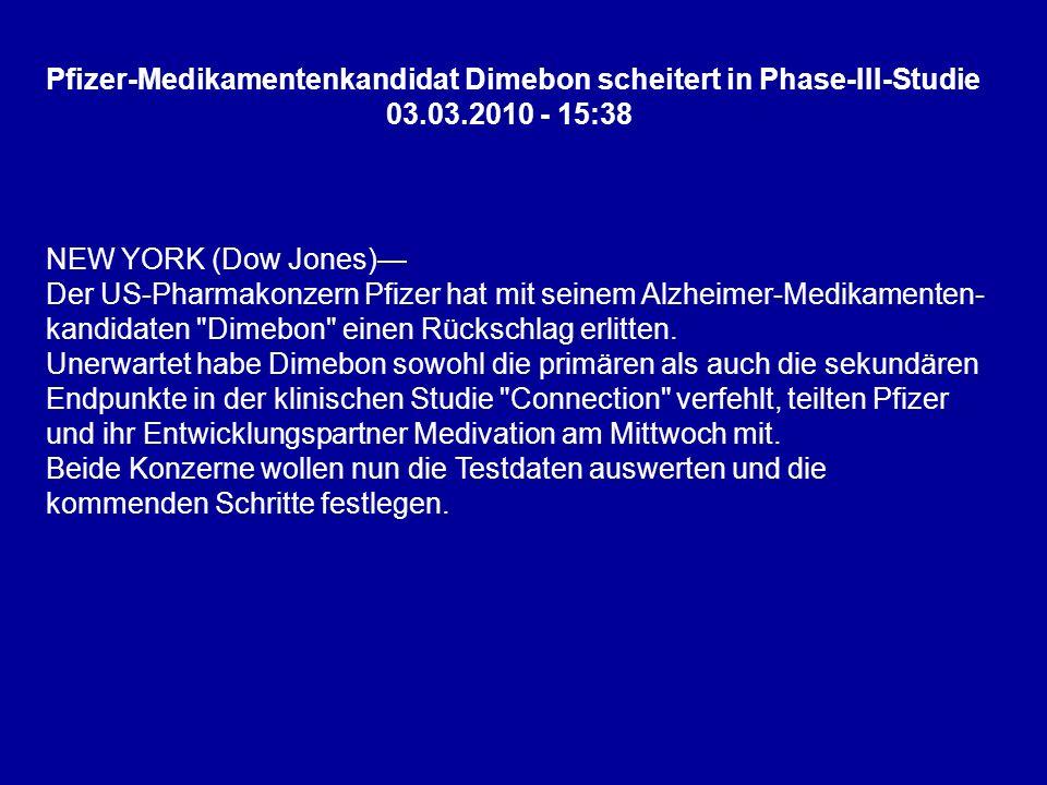 Pfizer-Medikamentenkandidat Dimebon scheitert in Phase-III-Studie