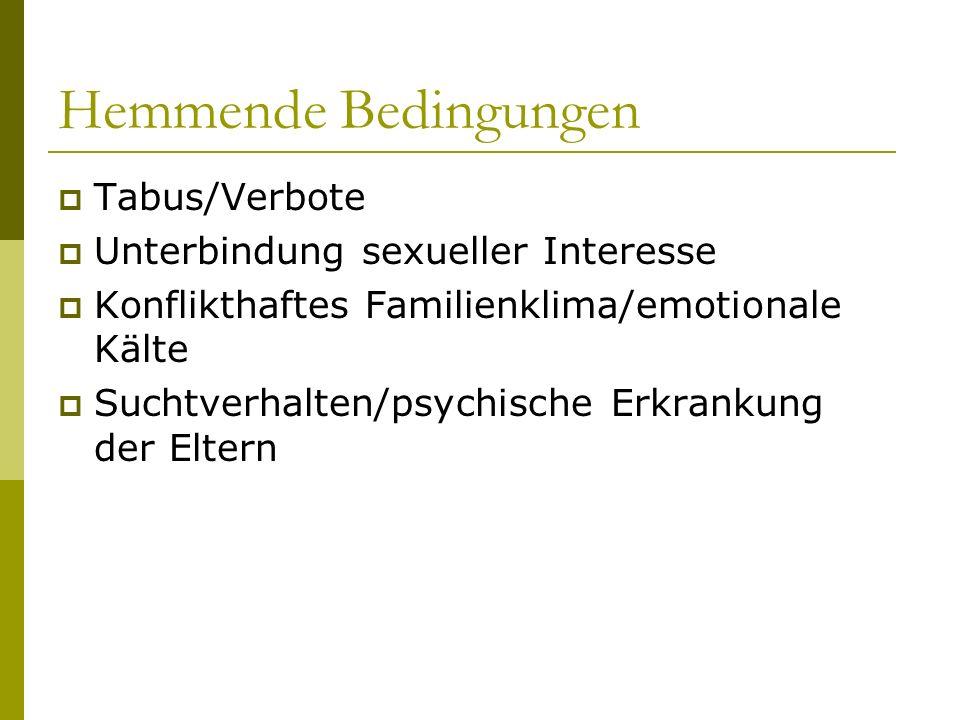 Hemmende Bedingungen Tabus/Verbote Unterbindung sexueller Interesse