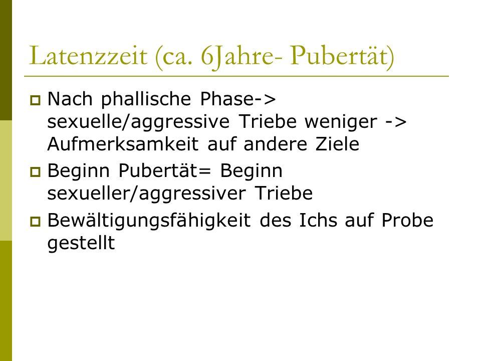 Latenzzeit (ca. 6Jahre- Pubertät)
