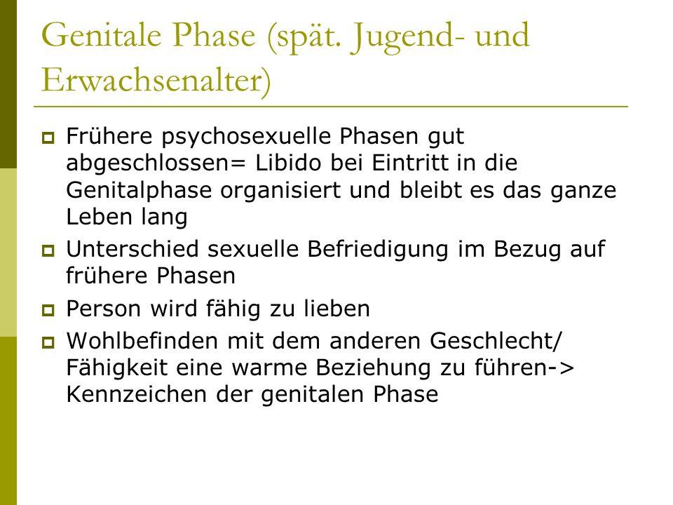 Genitale Phase (spät. Jugend- und Erwachsenalter)