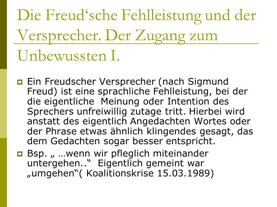Die Freud'sche Fehlleistung und der Versprecher