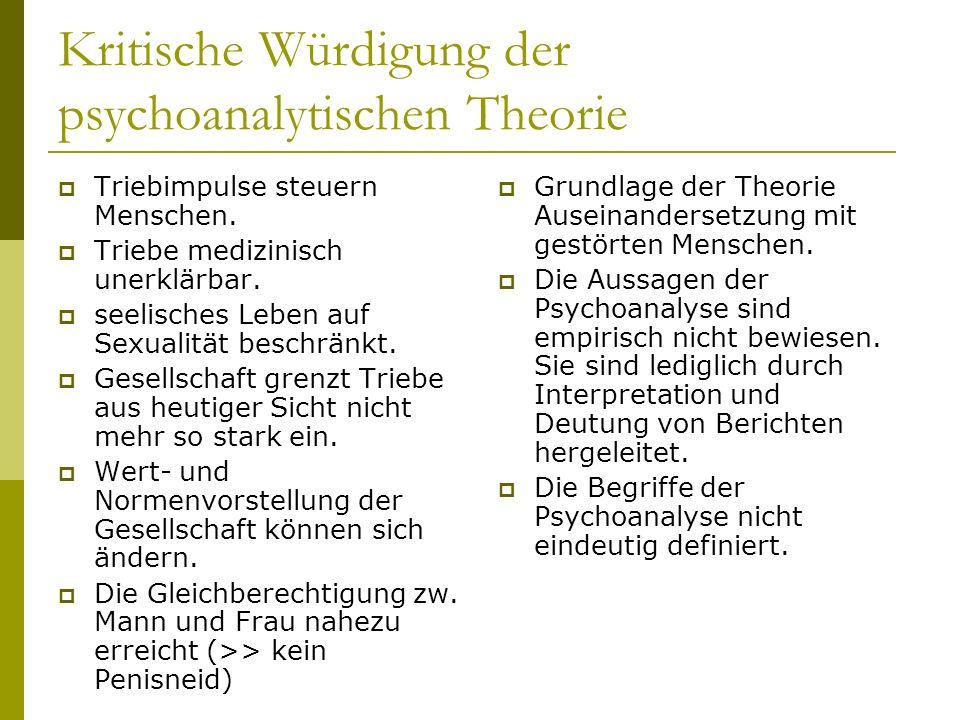 Kritische Würdigung der psychoanalytischen Theorie