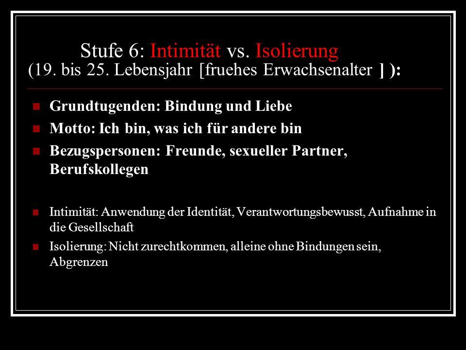 Stufe 6: Intimität vs. Isolierung (19. bis 25