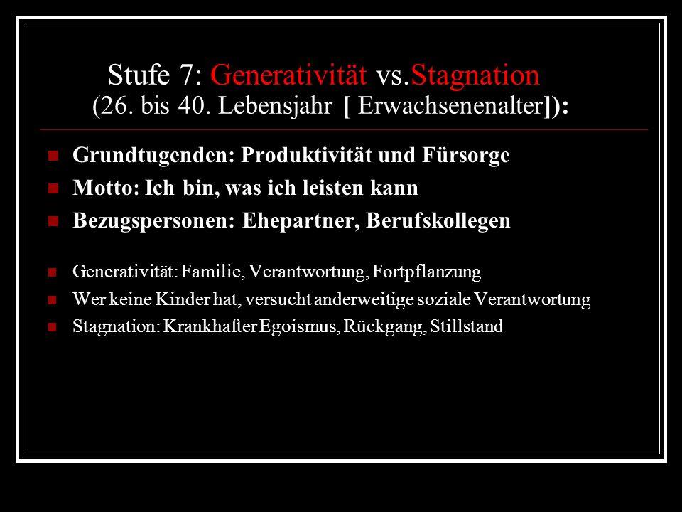 Stufe 7: Generativität vs. Stagnation (26. bis 40