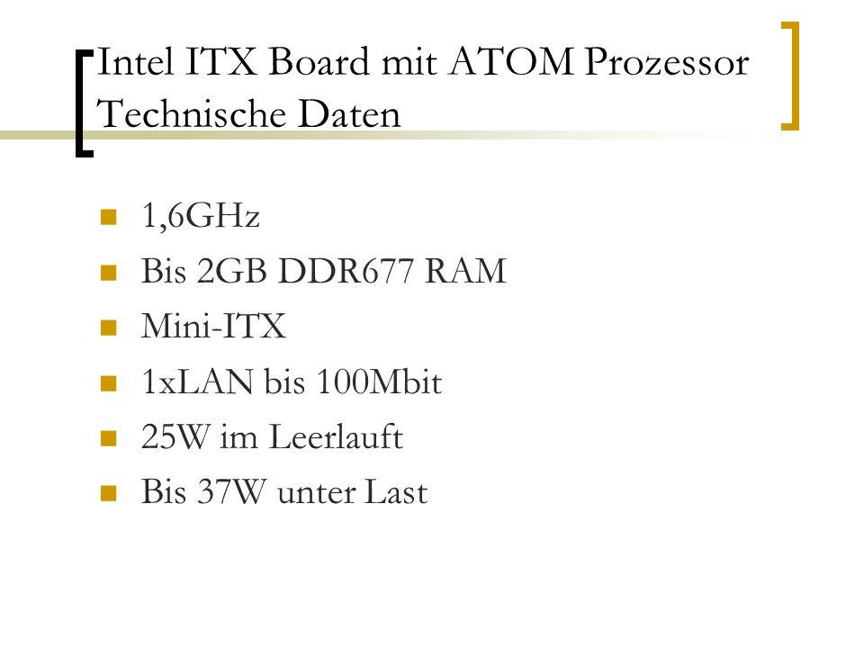 Intel ITX Board mit ATOM Prozessor Technische Daten