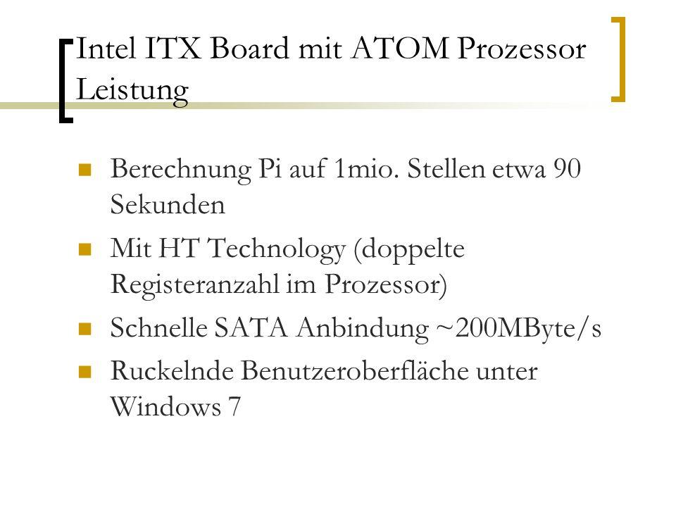 Intel ITX Board mit ATOM Prozessor Leistung