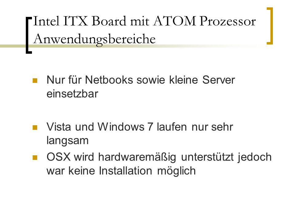 Intel ITX Board mit ATOM Prozessor Anwendungsbereiche