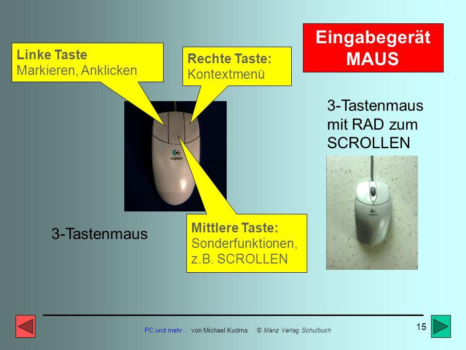 Eingabegerät MAUS 3-Tastenmaus mit RAD zum SCROLLEN 3-Tastenmaus