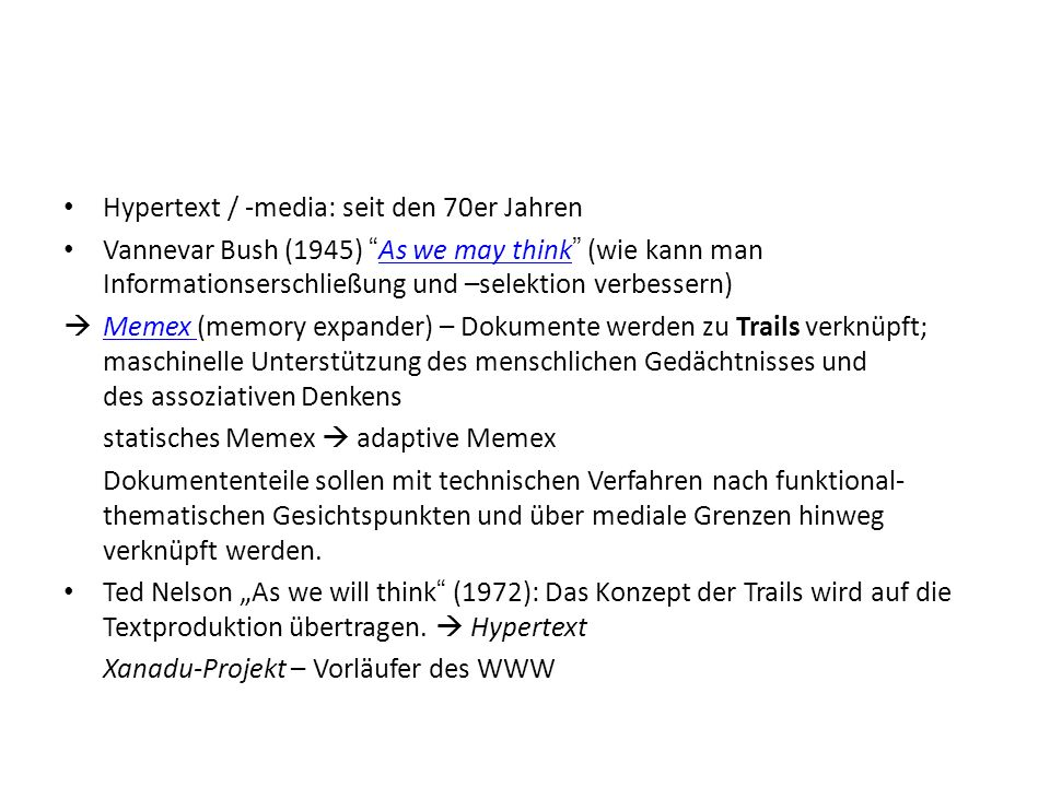 Hypertext / -media: seit den 70er Jahren