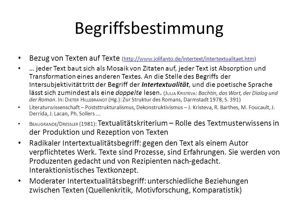 BegriffsbestimmungBezug von Texten auf Texte (http://www.jolifanto.de/intertext/intertextualitaet.htm)