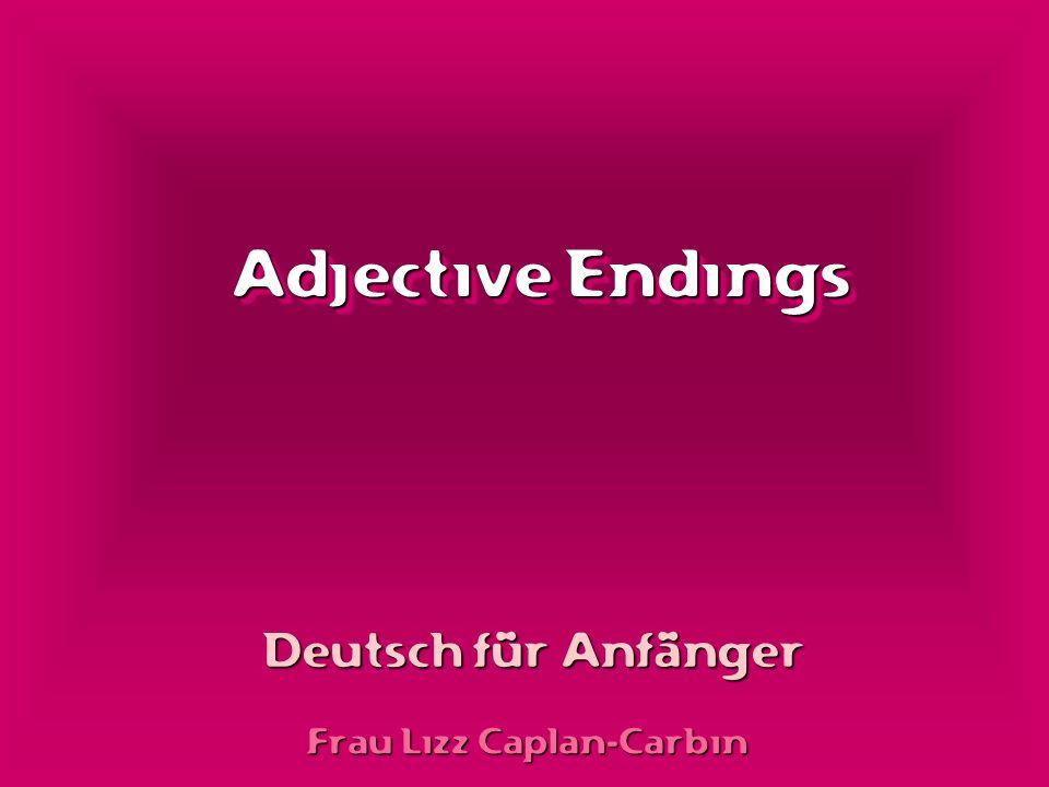 Adjective Endings Deutsch für Anfänger Frau Lizz Caplan-Carbin