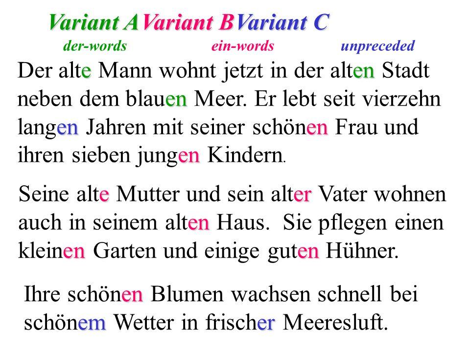 Variant A Variant B Variant C
