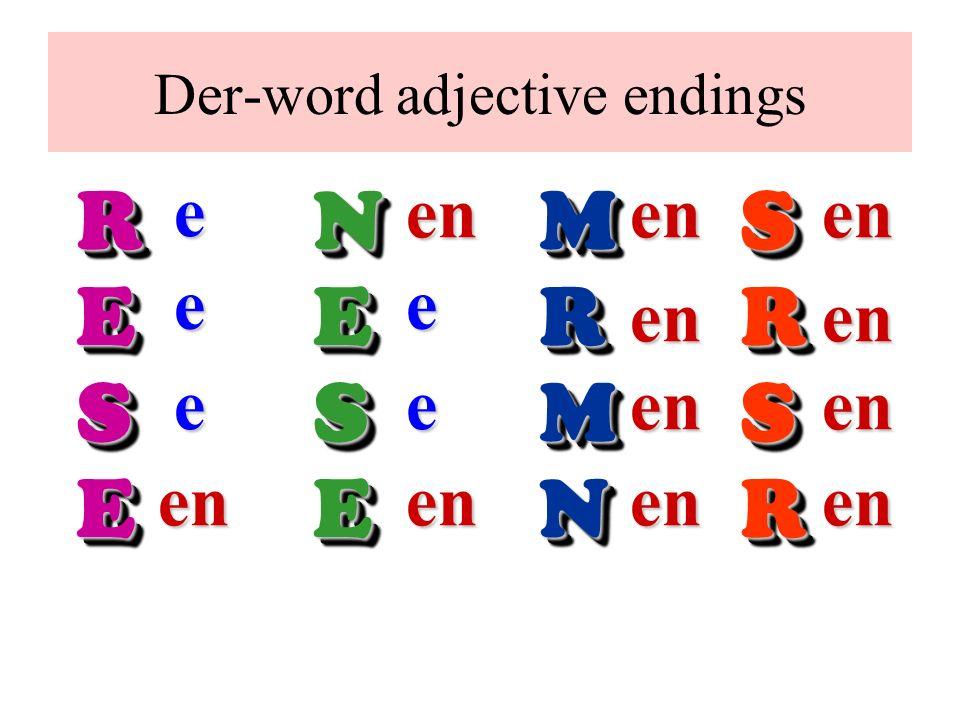 Der-word adjective endings