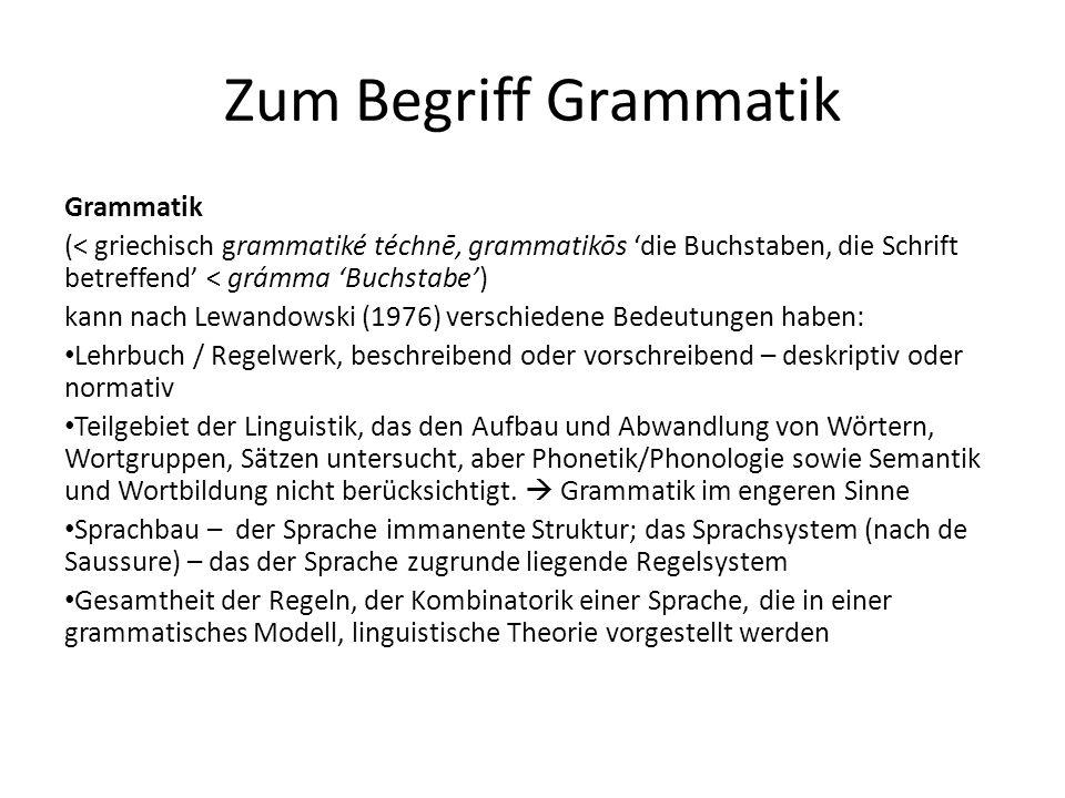 Zum Begriff Grammatik Grammatik