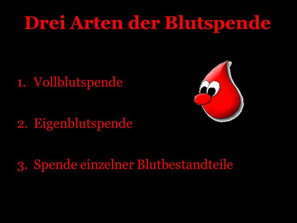 Drei Arten der Blutspende