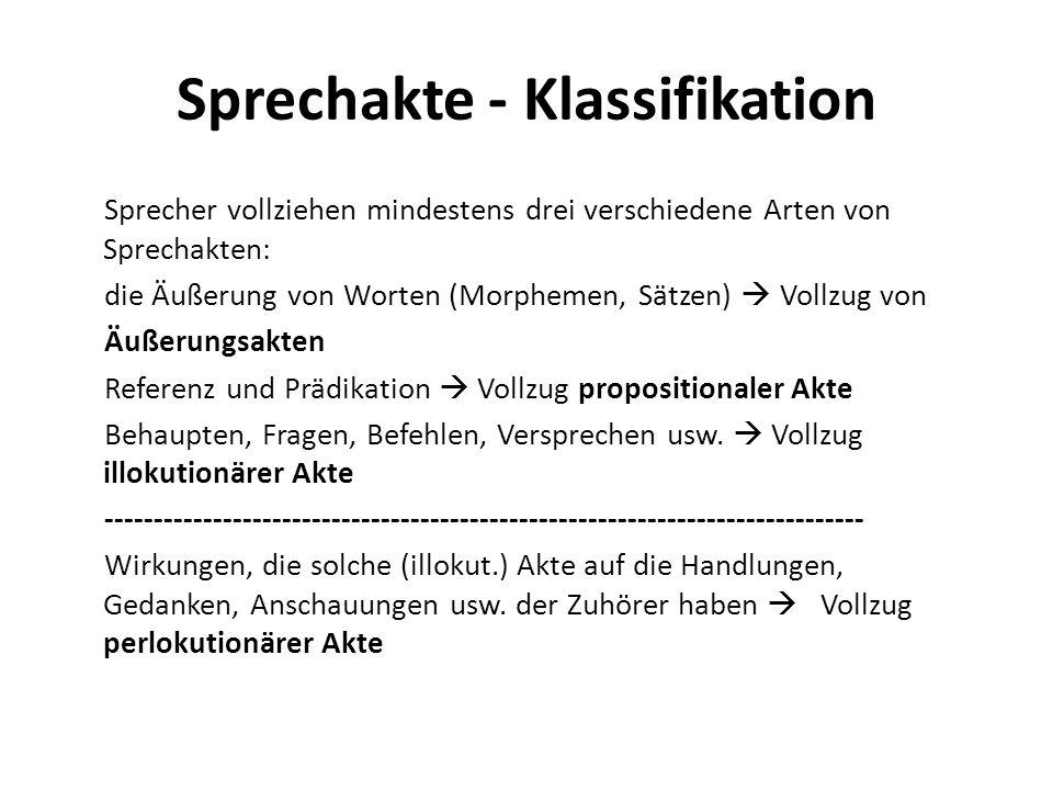 Sprechakte - Klassifikation