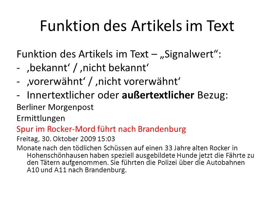 Funktion des Artikels im Text