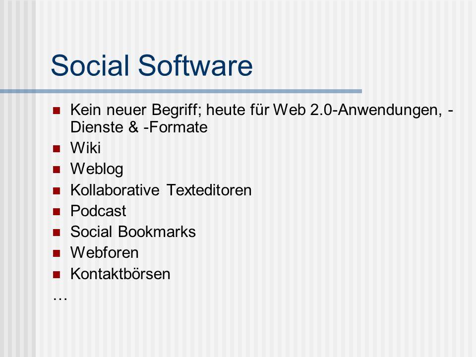 Social SoftwareKein neuer Begriff; heute für Web 2.0-Anwendungen, -Dienste & -Formate. Wiki. Weblog.